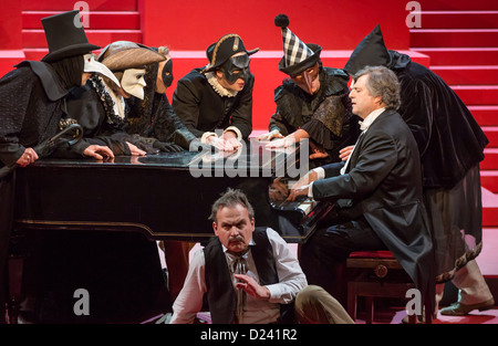 Actors rehearse the play 'Wahnfried - Bilder einer Ehe' ('Wahnfried - pictures of a marriage') at the Theater in - Stock Photo