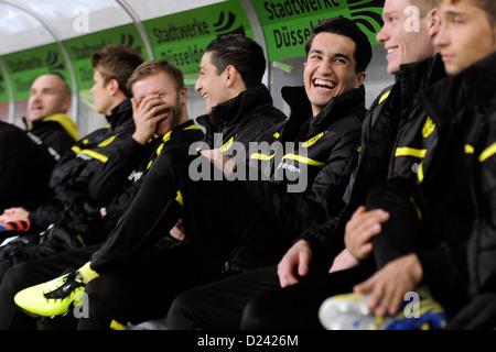 Dortmund's Nuri Sahin (3-R) smiles prior to the soccer WinterCup semi final match Fortuna Duesseldorf vs Borussia - Stock Photo