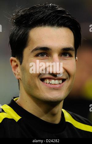 Dortmund's Nuri Sahin (C) smiles prior to the soccer WinterCup semi final match Fortuna Duesseldorf vs Borussia - Stock Photo