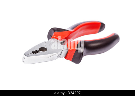 Pliers red tool isolated on a white background - Stock Photo