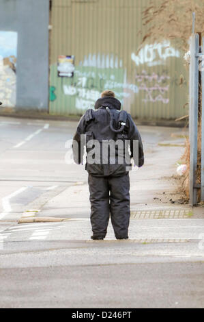 Belfast, Northern Ireland, UK. 14th January 2013.   ATO from the RLC EOD 11th Squadron (The Bomb Squad) wearing - Stock Photo