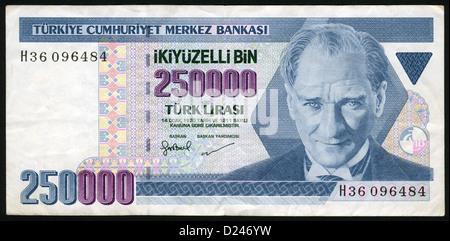 Banknote, 250000 Lire, Mustafa Kemal Atatürk,  1970, Bank note from Turkey - Stock Photo