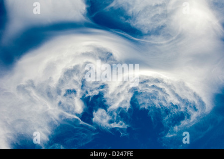 Bright blue sky with puffy white clouds. Cloudscape. - Stock Photo
