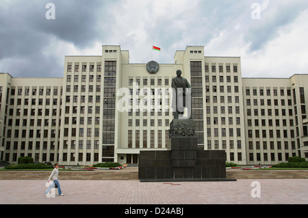 Minsk, Belarus, the Government House and Lenin monument