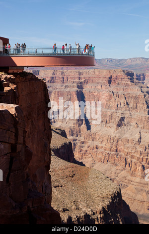 Skywalk on the west rim of the Grand Canyon in Arizona USA - Stock Photo
