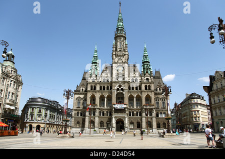 Liberec, Czech Republic, the square with the town hall in the middle - Stock Photo