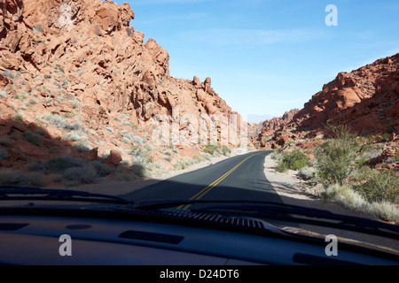 driving through canyons on the white domes road scenic drive valley of fire state park nevada usa - Stock Photo