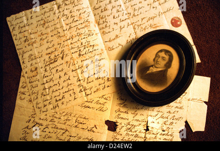Letters written by poet Samuel Taylor Coleridge. *EDITORIAL USE ONLY* - Stock Photo