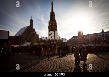 Hauptmarkt Square in the old quarter of Nuremberg during the Christmas Market - Stock Photo