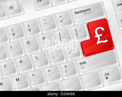 White Computer Keyboard Pound Symbol Vector Illustration Stock