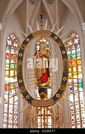 KOSICE -  Virgin Mary statue inside of mandorla from 18. cent. in Saint Elizabeth gothic cathedral - Stock Photo