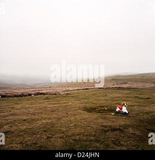 Abandoned rocking horse on Scottish highland - Stock Photo