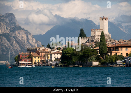 Skyline of Malcesine on Lake Garda in Italy - Stock Photo
