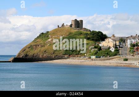 Castle from beach Criccieth Gwynedd Wales UK - Stock Photo
