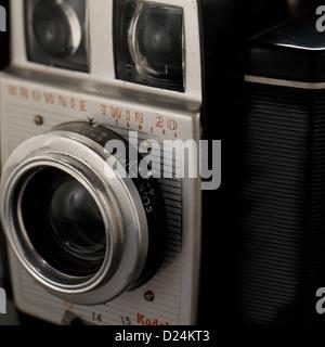 Old Kodak Brownie twin 20 camera, close-up - Stock Photo