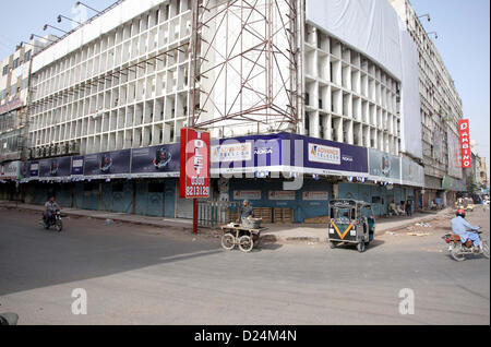 Shops seen closed during strike called by Shia Ulema  Council against killing of Shiite Muslims and genocide of - Stock Photo