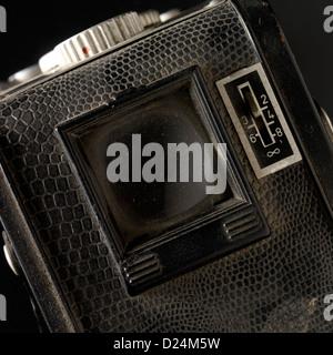 Old Bilora Bonita box camera viewfinder, focus scale, dusty, 1950s - Stock Photo