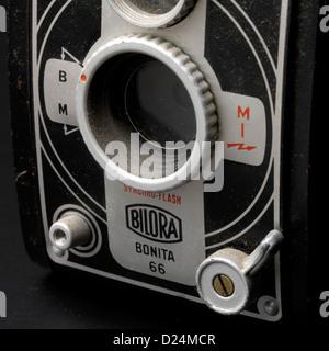 Old Bilora box camera, close-up, 1951-1958 - Stock Photo