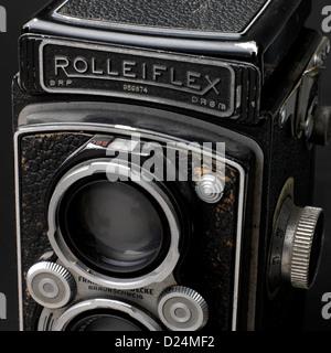 Old rolleiflex camera,close-up 1945 - 1949 - Stock Photo