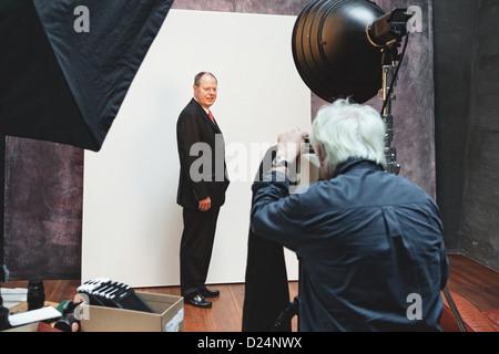 Berlin, Germany, Peer Steinbrueck is photographed by Jim rocket - Stock Photo