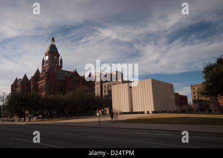 John F. Kennedy Memorial Plaza in Dallas, Texas, next to the Old Red Courthouse and Dealey Plaza designed by Phillip - Stock Photo
