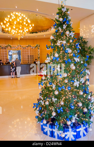 Christmas tree in lobby of Caravelle Hotel; Lam Son Square; Ho Chi Minh City; Vietnam, Southeast Asia - Stock Photo