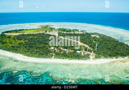 Aerial view of Lady Elliot Island, Great Barrier Reef, Queensland, Australia - Stock Photo