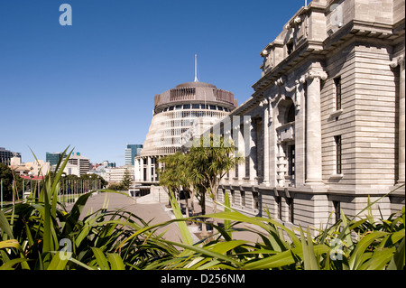 A view of Parliament Buildings, Wellington, New Zealand, with the iconic 'Beehive' in the background. - Stock Photo