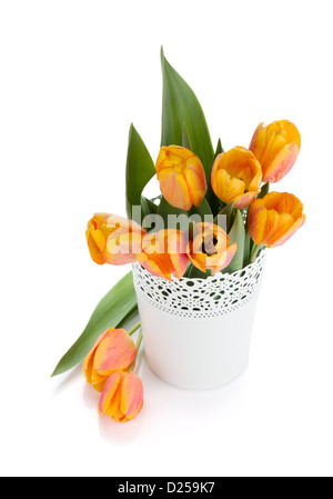 Orange tulips in flowerpot. View from above. Isolated on white background - Stock Photo