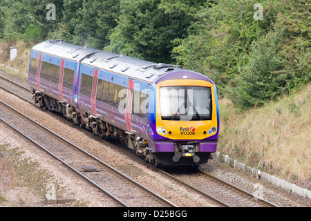A First Diesel Passenger Train on the mainline in West Yorkshire, England - Stock Photo