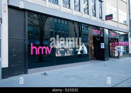 Bristol, UK. 15th January 2013. HMV store frontage in Bristol. Credit:  Rob Hawkins / Alamy Live News - Stock Photo