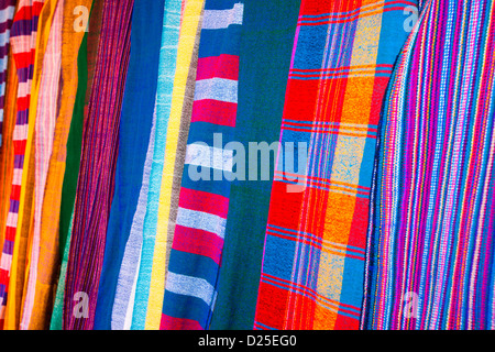 A colourful display of traditional scarves/ shammas woven at the village of Chencha nr.  Arba Minch in the Omo Valley, - Stock Photo