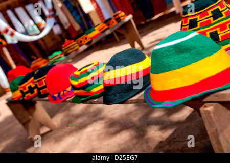 A colourful display of traditional hats woven at the village of Chencha nr.  Arba Minch in the Omo Valley, Ethiopia. - Stock Photo