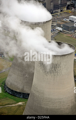 Aerial photograph showing steam from the cooling towers at Ferrybridge power station. - Stock Photo