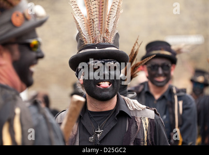 The Witchmen Border Morris dancers dancing at Whittlesey Straw Bear festival, Cambridgeshire UK 2013 - Stock Photo