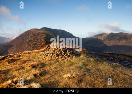 The Mountains of Sail and Crag Hill From Causey Pike in Early Morning Light Lake District Cumbria UK - Stock Photo