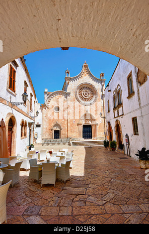 The Italian Gothic Cathedral of Ostuni built between 1569-1495 .Ostuni, The White Town, Puglia, Italy. - Stock Photo