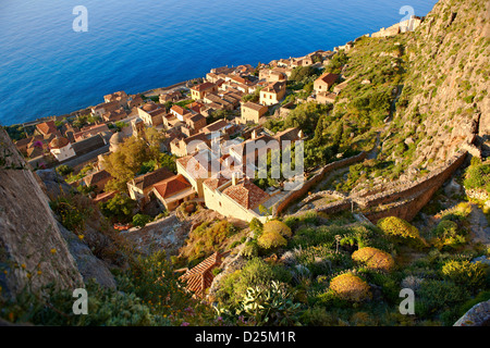 Arial view of Monemvasia Byzantine Island castle town with acropolis on the plateau. Peloponnese, Greece - Stock Photo