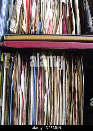 Two Boxes of 45rpm Vinyl Single Records - Stock Photo