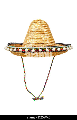 Sombrero - traditional Mexican straw hat isolated on white background - Stock Photo