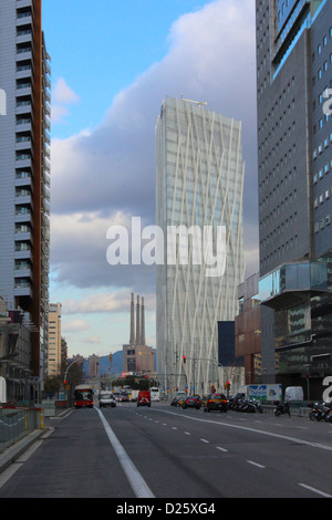 View of a street with buildings in Poblenou, 22@ district, Barcelona, Catalonia, Spain. - Stock Photo