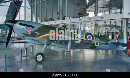 Supermarine Spitfire LF Mk.XVI E, served in Polish Air Force on Western front, Polish Aviation Museum in Krakow, - Stock Photo