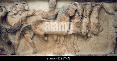 Siphnian Treasury. 530 BC. Relief depicting a scene of Troy War. Ajax and Achilles fighting Aeneas and Memnon. - Stock Photo