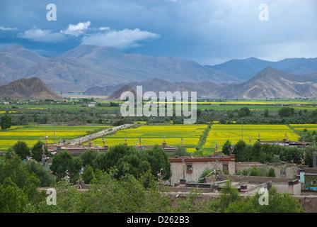 Cropfields around town Gyantse seen from monastery Pelkor Chöde, Tibet - Stock Photo