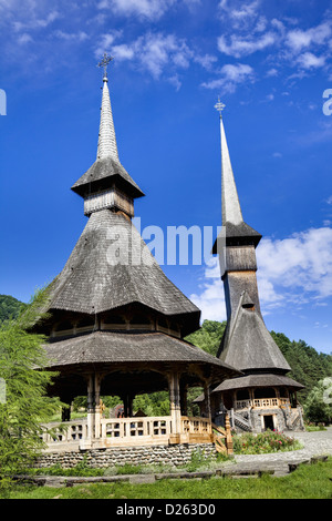 The Barsana monastery Romania, was built from wood only according to old traditions in maramures. Europe, Romania - Stock Photo