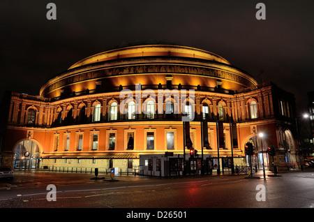 Exterior of the Royal Albert Hall, Kensington at night - Stock Photo