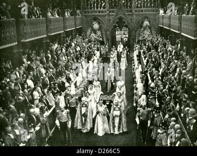 CORONATION OF QUEEN ELIZABETH II in Westminster Abbey on 2 June 1953 - Stock Photo