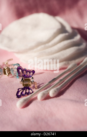 cotton disks and sticks - Stock Photo