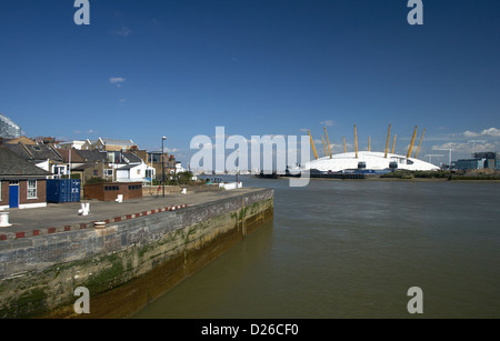 London, United Kingdom, simple houses standing on the banks of the Thames - Stock Photo