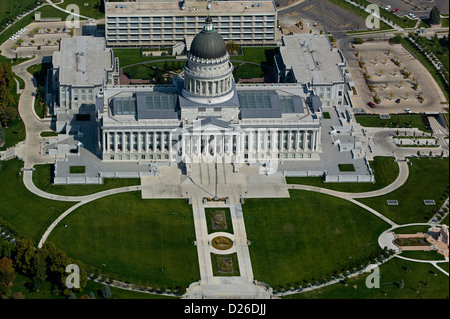 aerial photograph Utah State Capitol building, Salt Lake City, Utah - Stock Photo